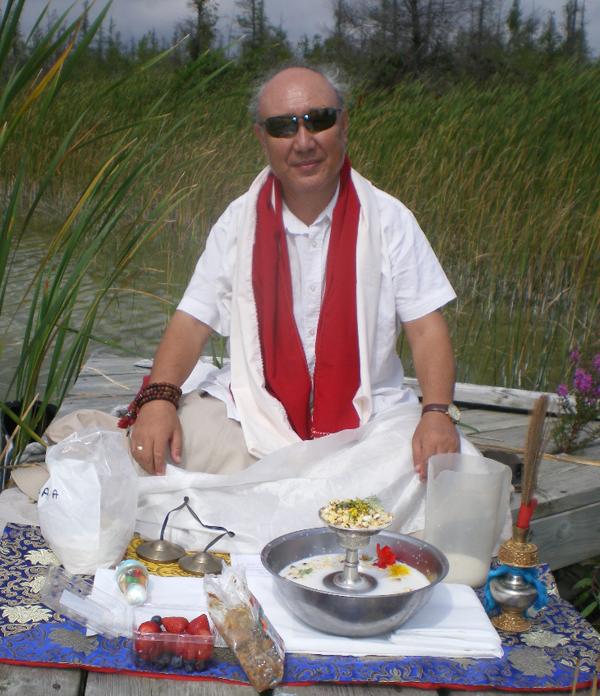 Rangrig Rinpoche at Naga Puja at Lime lake, Ont.